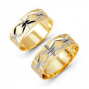 14k Yellow White Gold Etched Solid Wedding Band Set
