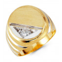 Mens 14k White Yellow Gold Round CZ Crown Cut Ring