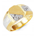 Mens 14k Yellow Gold Round CZ Fashion Cut Crown Ring