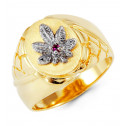 Mens 14k Yellow White Gold Purple CZ Leaf Crown Ring