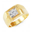 Mens 14k Yellow White Gold Round CZ Crown Polished Ring