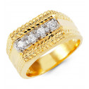 Mens 14k White Yellow Gold Round CZ Arrow Leaf Ring