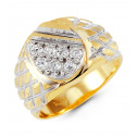 Mens 14k Yellow White Gold Round CZ Crisscross Ring