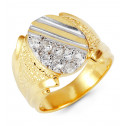 Mens 14k Yellow White Gold Round CZ Crown Cut Ring