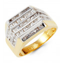 Mens 14k Yellow White Gold Polished Princess CZ Ring