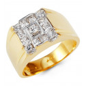 Mens 14k White Yellow Gold Princess Round CZ Wide Ring