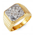 Mens Solid 14k Yellow White Gold Round Princess CZ Ring