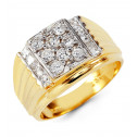 Mens Solid 14k Yellow White Gold Princess Round CZ Ring