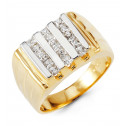 Mens Solid 14k White Yellow Gold Band Princess CZ Ring
