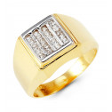 Mens 14k Yellow White Gold Princess CZ Fashion Ring