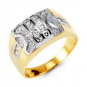Mens 14k Yellow White Gold Princess CZ Art Crown Ring