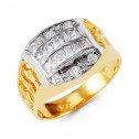 Mens 14k Yellow White Gold Princess Round CZ Crown Ring
