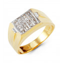 Mens 14k Yellow White Gold Princess CZ Hot Fashion Ring