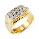 Mens 14k Yellow White Gold Princess Cut CZ Diamond Ring