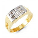 Mens 14k Yellow White Gold Band Princess CZ Modern Ring