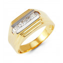 Mens Modern Art 14k Yellow White Gold Princess CZ Ring