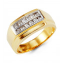 Mens 14k White Solid Gold Polished Princess CZ Ring