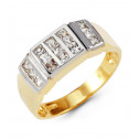 Mens 14k White Yellow Gold Band Princess CZ Modern Ring