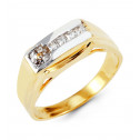 Mens Modern 14k White Yellow Gold Princess CZ Band Ring