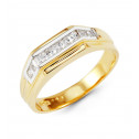 Mens 14k White Yellow Gold Princess CZ Solid Band Ring