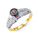 14k Yellow White Gold Oval Mystic Fire Topaz CZ Ring