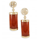 Solid 14k Gold Good Luck Red Agate Dangle Earrings