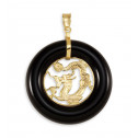 Solid 14k Gold Dragon Figure Round Black Onyx Pendant