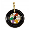 Solid 14k Gold Round Black Onyx Red Agate Jade Pendant