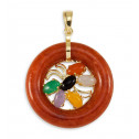 Red Agate Round 14k Gold Red Agate Onyx Jade Pendant