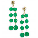 Solid 14k Gold Chinese Lucky Green Jade Beads Earrings