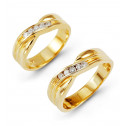 14k Solid Gold 0.30 Ct Round Diamond Wedding Band Set