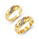 14k Yellow Gold 0.12 Ct Round Diamond Wedding Band Set