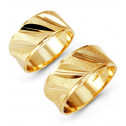 Solid  14k Yellow Gold Slant Etched Wedding Band Set