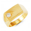 Mens 14k Yellow Gold Round CZ Rectangular Fashion Ring