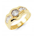 Mens 14k Yellow Gold Round Princess CZ Fashion Band