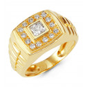 Mens 14k Yellow Gold Princess Round CZ Rectangular Ring