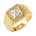 Mens 14k Yellow Gold Emerald Cut Round CZ Fashion Ring
