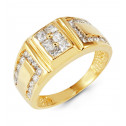 Mens 14k Yellow Gold Princess Round CZ Fashion Ring