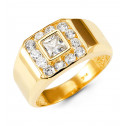 Mens 14k Yellow Gold Round Princess CZ Fashion Ring