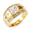 Mens 14k Yellow Gold White Princess Round CZ Band Ring