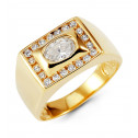 Mens 14k Yellow Gold Oval Crown Round CZ Fashion Ring