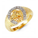 Mens 14k Yellow Gold Horse Head Horseshoe Round CZ Ring
