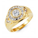 Mens 14k Yellow Gold Round CZ Circle Crown Fashion Ring