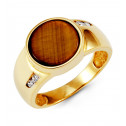 Mens 14k Yellow Gold Round CZ Tiger Eye Fashion Ring