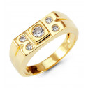 Mens 14k Yellow Gold Round CZ Rectangular Crown Ring