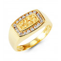 Mens 14k Yellow Gold Round CZ Nugget Crown Fashion Ring