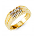 Mens 14k Yellow Gold Round CZ Deep Cut Fashion Band