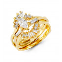 14k Gold Round Baguette Marquise CZ Wedding Ring Set