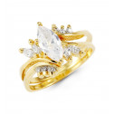14k Solid Gold Round White Marquise CZ Fashion Ring