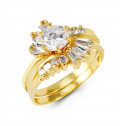 14k Yellow Gold Band Round Baguette CZ Bride Rings Set